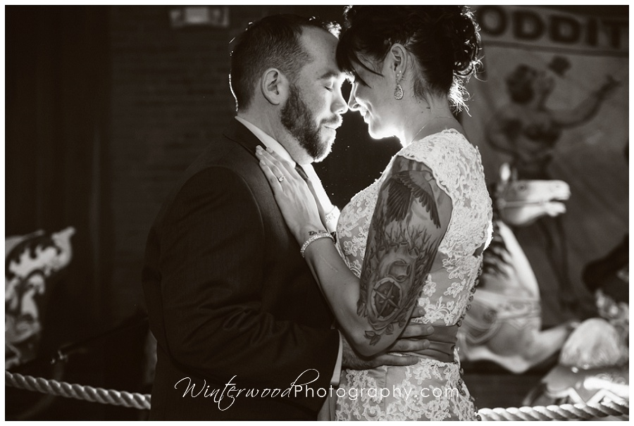 Bride & Groom at New England Carousel Museum wedding