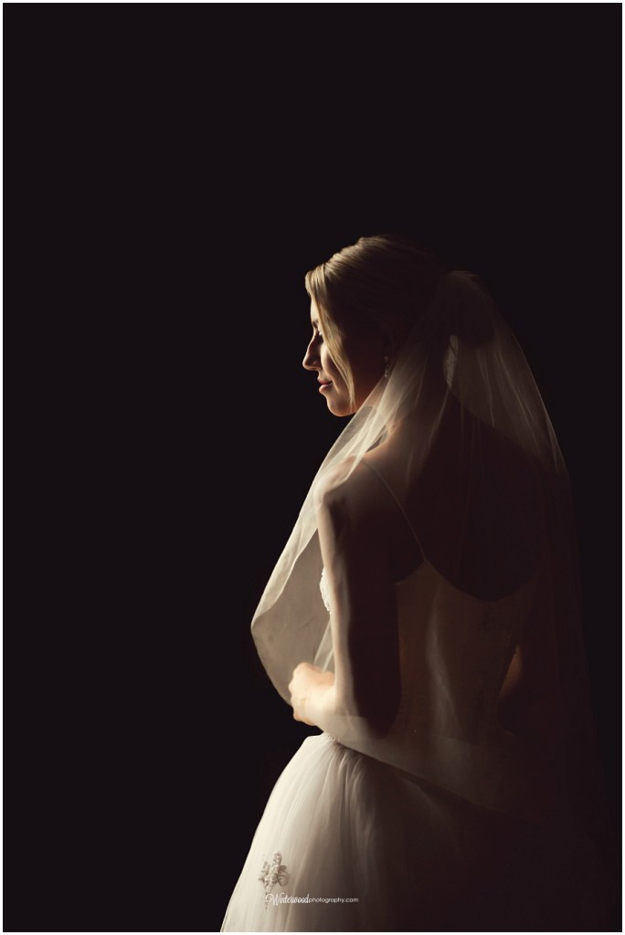 Dramatic, natural light photograph of wedding model by Connecticut Wedding photographer