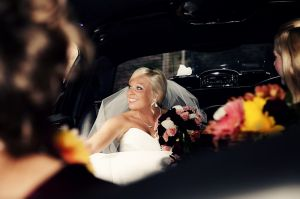 Bride in limo, near Hartford, Connecticut