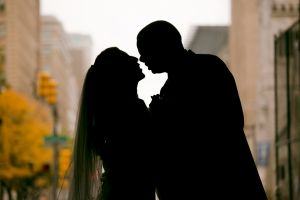 Silhouette of Couple at Philadelphia City Hall